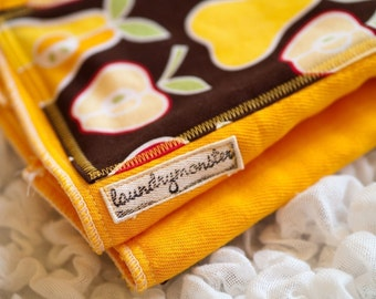 School bus yellow super bright hand dyed burp cloth with apples and pears