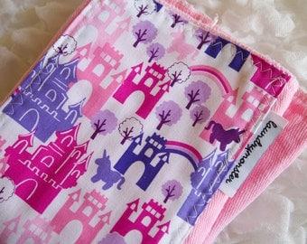 Baby Burp cloth - pink castles and unicorns hand dyed burp cloth