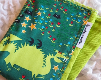 Baby burp cloth - Ed Emberley dragons on lime green hand dyed burp cloth