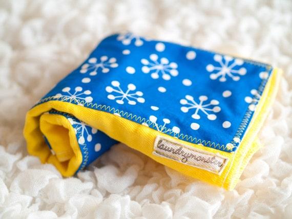 Baby burp cloth - Blue and yellow retro baby starburst hand dyed burp cloth
