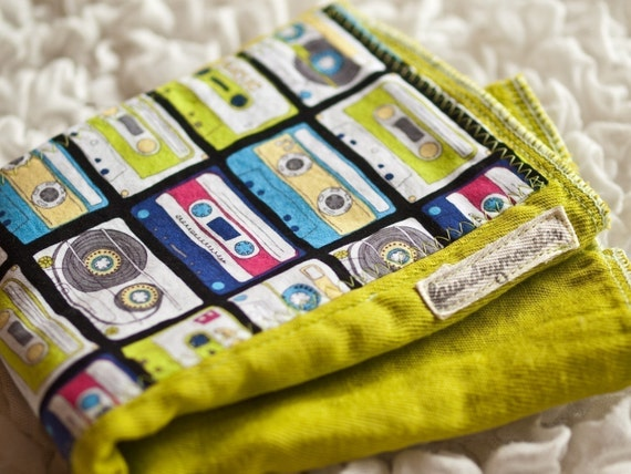 Baby burp cloth - I made a mix tape hand dyed lime green burp cloth for you