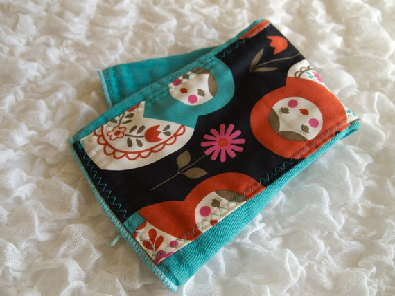 baby burp cloth - Jade Matryoshka dolls hand dyed burp cloth