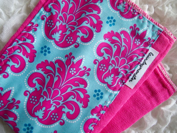 Baby burp cloth - Hot pink and turquoise damask hand dyed burp cloth