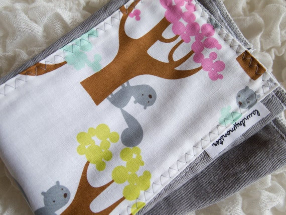 Baby burp cloth - tree squirrels gray hand dyed burp cloth