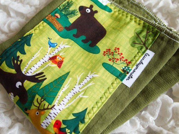 Baby Burp cloth - moose and bear in the forest olive green hand dyed burp cloth