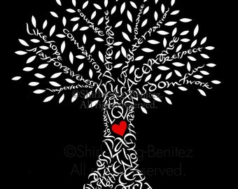 Handlettered Love Tree - Black and white with red heart