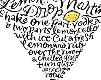 Handlettered Lemon Drop Martini Recipe Art Piece - Black and Yellow
