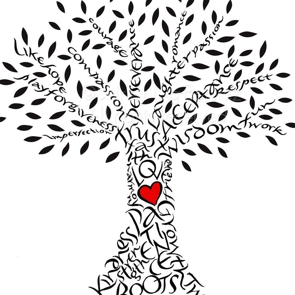 Live Life With No Regrets Tattoo Sketches Drawing Art: Handlettered Love Tree With Red Heart