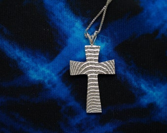Cuttlebone Cast Sterling Silver Cross
