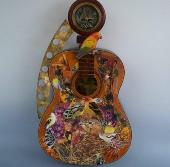 Steampunk Bird Theme Guitar Wall Decor