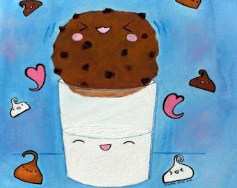 Original Art Painting Cute Kawaii Cookie Blue Kitchen Art - One Stuck Cookie 8 x 10 Canvas