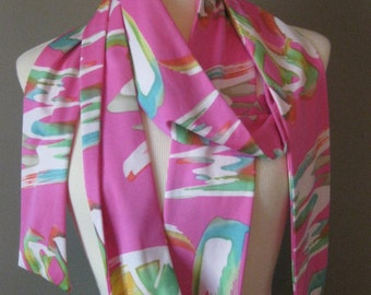 Vintage Polyester Scarf Psychadelic Groovy Pink White Green Super Long