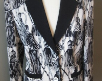 Vintage Louis Feraud Jacket with Crystal and Silver Buttons Tassel Black and White Design Sale was. 300 USD