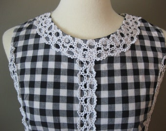 Black and White Gingham Vintage Dress with Lace Embellishments