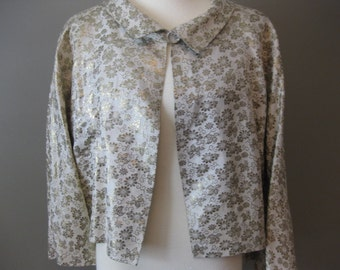 Gold Lame Vintage Swing Jacket Cropped Three Quarter Length Sleeves Pleated