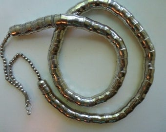 Vintage Silver Toned Serpentine Snake Long Necklace