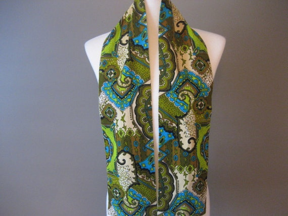 Scarf Vintage Green Blue and White Paisley
