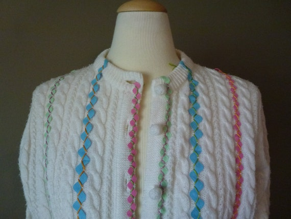Hand Embellished Vintage Cardigan with Ric Rac and Embroidery Floss Deans Cable Knit Sweater