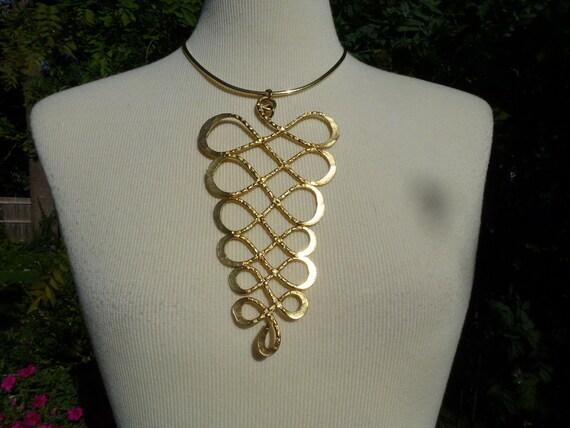 Vintage Swirly Gold Toned Large Pendant