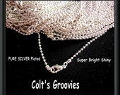 60 Pure silver plated (Bright & Shiny) ball chain necklaces with Lobster clasp----- 17, and 19 inches------ 1.5mm