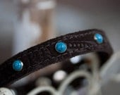 Sueded Leather and Turquoise Dog Collar, Turquoise Dog Collar, Suede Leather Dog Collar