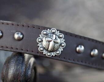 Cross Concho Dog Collar, Brown Leather Collar, Concho Dog Collar, Leather Concho Collar