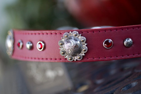 Berry Swirl Dog Collar, Leather Concho Collar, Red Leather Collar, Crystal Dog Collar