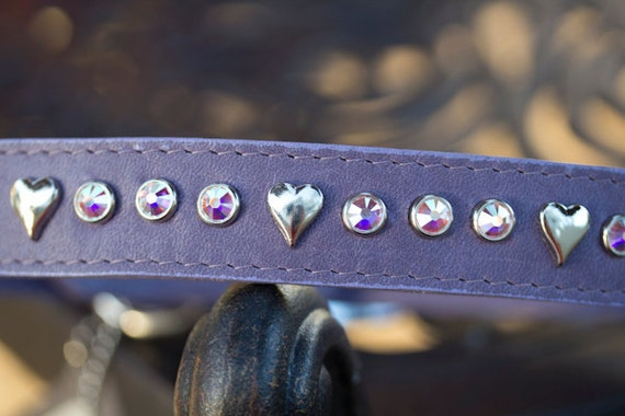 Heart Crystal Dog Collar, Leather Dog Collar, Lavender Dog Collar