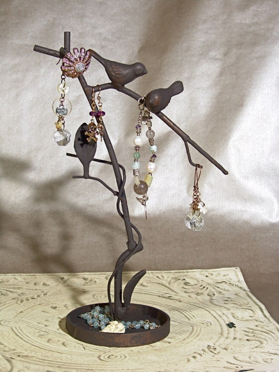 Maya small jewelry organizer display wrought iron with birds for Tree branch jewelry holder