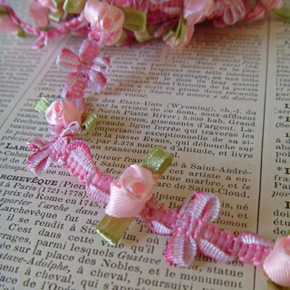 1 yd- French Pink Rococo Trim with Satin Pink Rose Buds Flower Ribbon No05