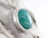 Blue Gemstone Pendant Amazonite Pendant Big Pendant Necklace