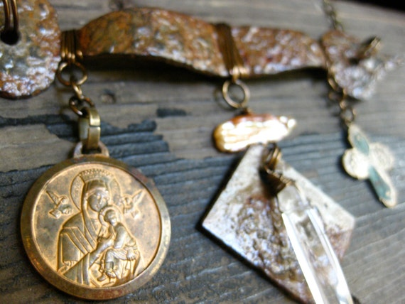 Mixed Metal Charm Bib Necklace with Vintage Catholic Medals and Quartz Crystal