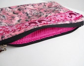 Pink andBlack Damask with Kissing Birdie Trim Pouch 8.5 x 5.5 SALE