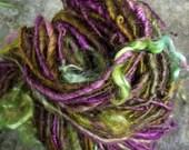 Handspun yarn, handpainted yarn, art yarn  Bluefaced Leicester, BFL wool,  mohair locks-FEY