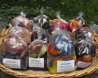 Bulk Wool fiber grab bag, for felters or spinners, 8 oz of handpainted fiber