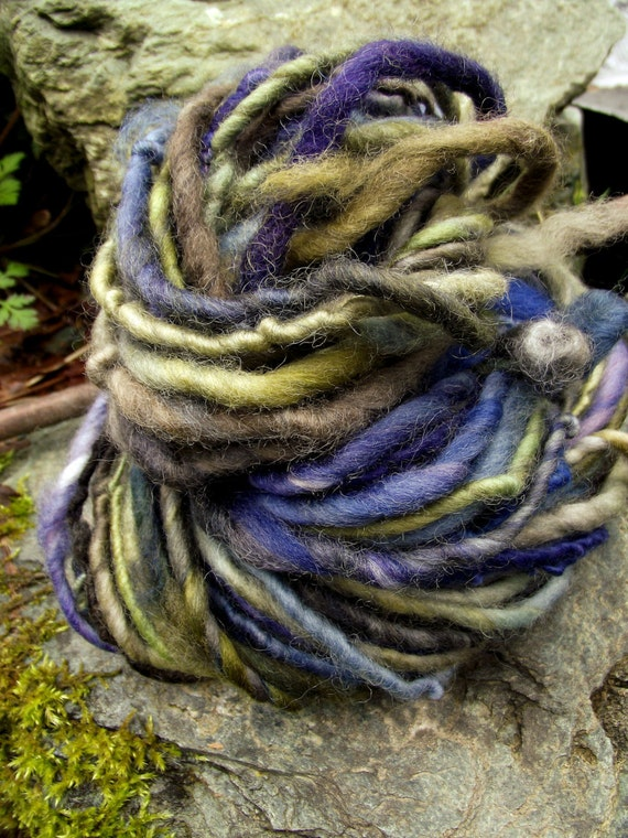 Handspun yarn, handpainted,Super Bulky Thick and Thin Art Yarn, Burly Spun Felted  wool reduced in price was 32-PARIME