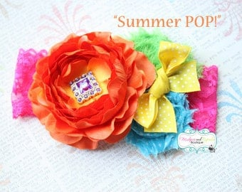 Birthday Headband { Summer POP } bright circus, first birthday, rainbow, orange, hot pink, yellow Sunshine, cake smash photography prop