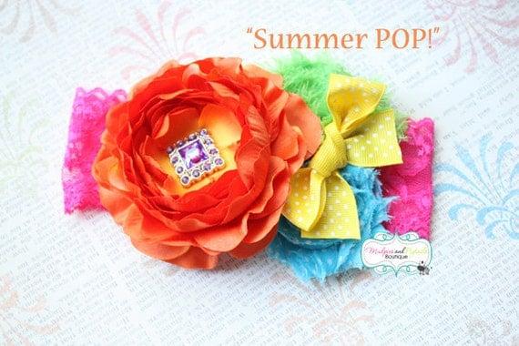 Birthday Headband { Summer POP } bright circus, first birthday, rainbow, orange, hot pink, yellow Sunshine, cake smash photography prop