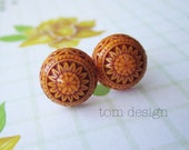 CLEARANCE Karly - Brown and Orange Vintage Mosaic Post Earrings