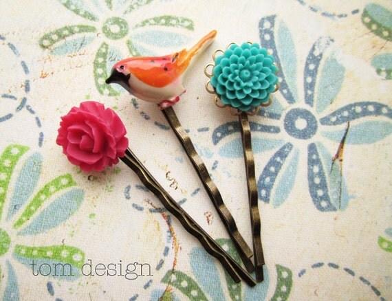 Summer Garden -  Hair Pin Set IV - Hot Pink Rose, Carved Bird, Turquoise Mum