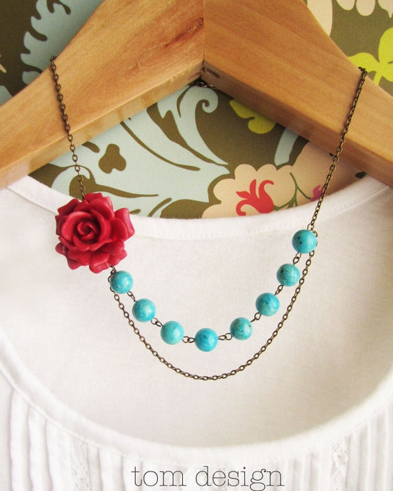 CLEARANCE Marie Rose Bud Necklace - Red Rose with Turquoise Stones