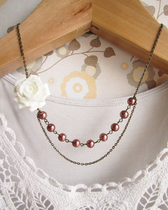 Olivia Rose Bud Necklace - White Rose with Pink Pearl Beads - 40% off CLEARANCE