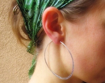 Large Fine Silver Hoops