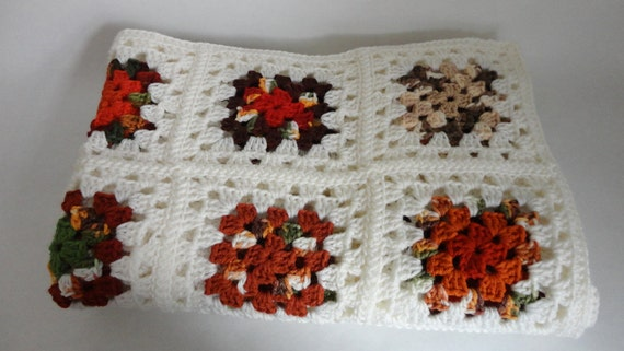 VINTAGE white // autumnal colored granny square AFGHAN THROW - reserved for Katie -
