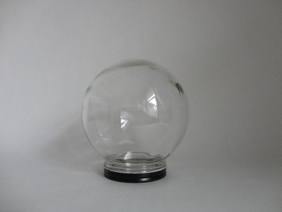 just add contents...VINTAGE glass GLOBE with metal lid (bowl-o-beauty)