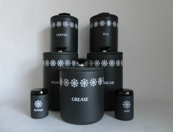 black and white retro kitchen...VINTAGE miracle maid CANISTER SET (includes 5 canisters // salt and pepper shakers)