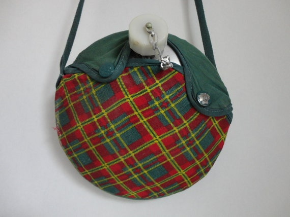 stay hydrated...VINTAGE girl scout CANTEEN in plaid cross body POUCH