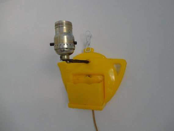 VINTAGE canary yellow plastic TEAPOT wall LAMP