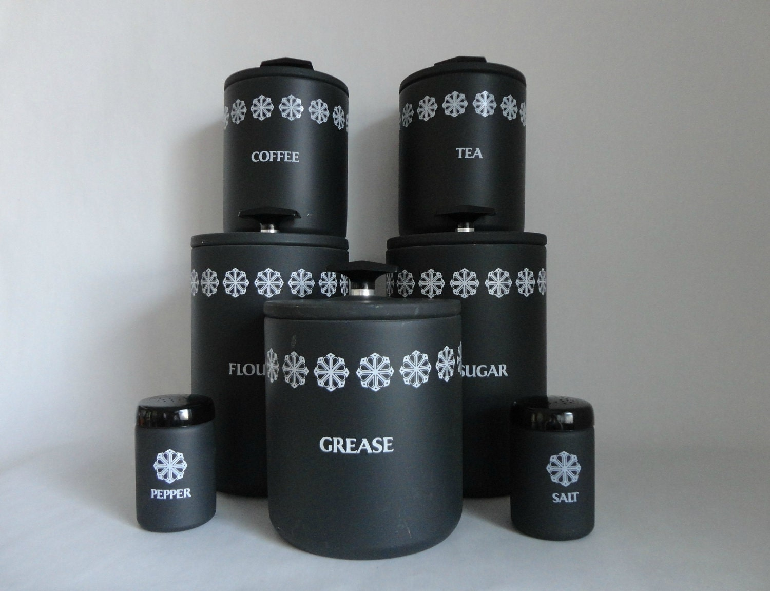 black and white retro kitchen vintage miracle maid canister