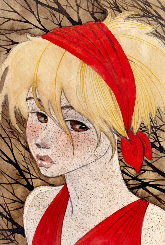HOLIDAY SALE - Girl in Red - 4x6 Original Painting - one of a kind